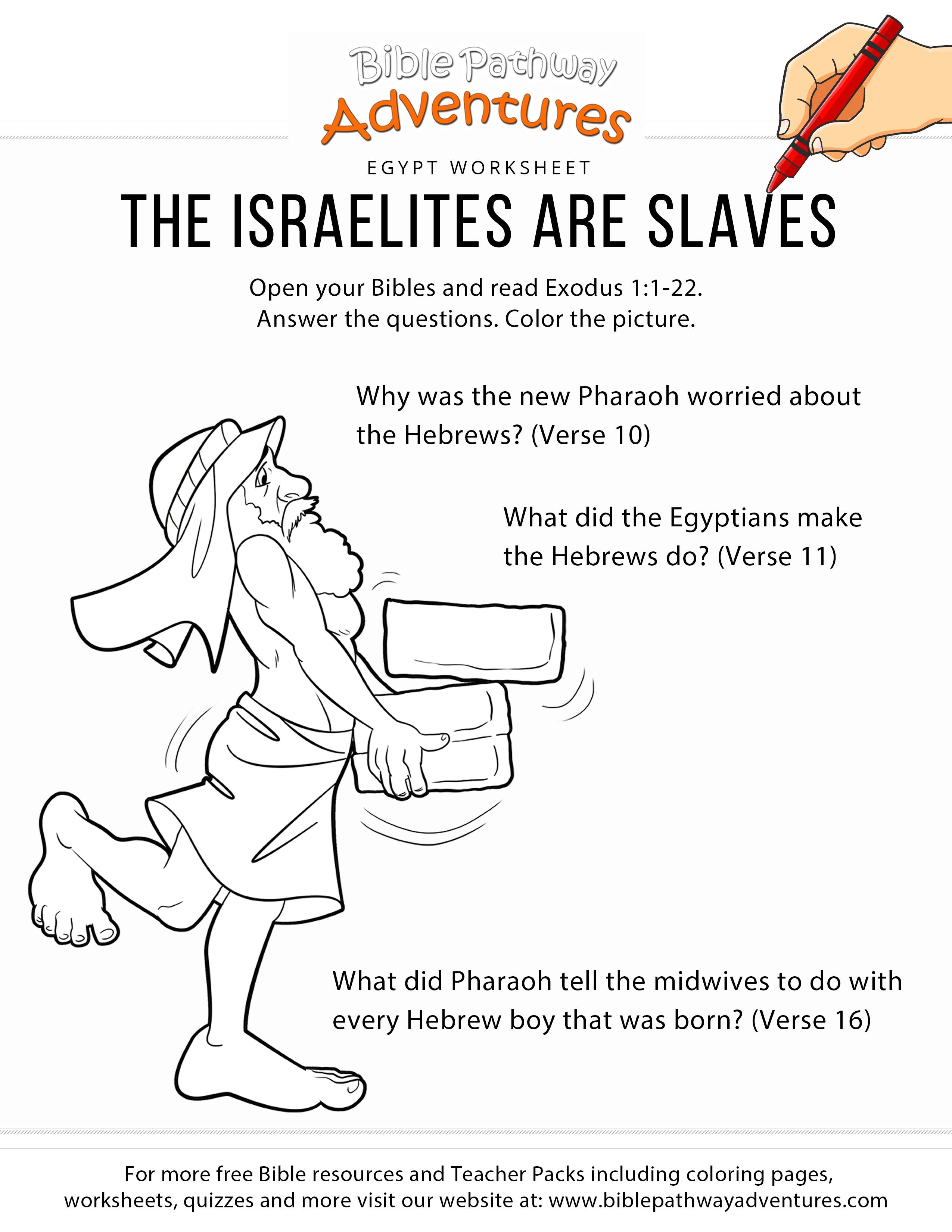 The Israelites Are Slaves Worksheet Amp Coloring Page
