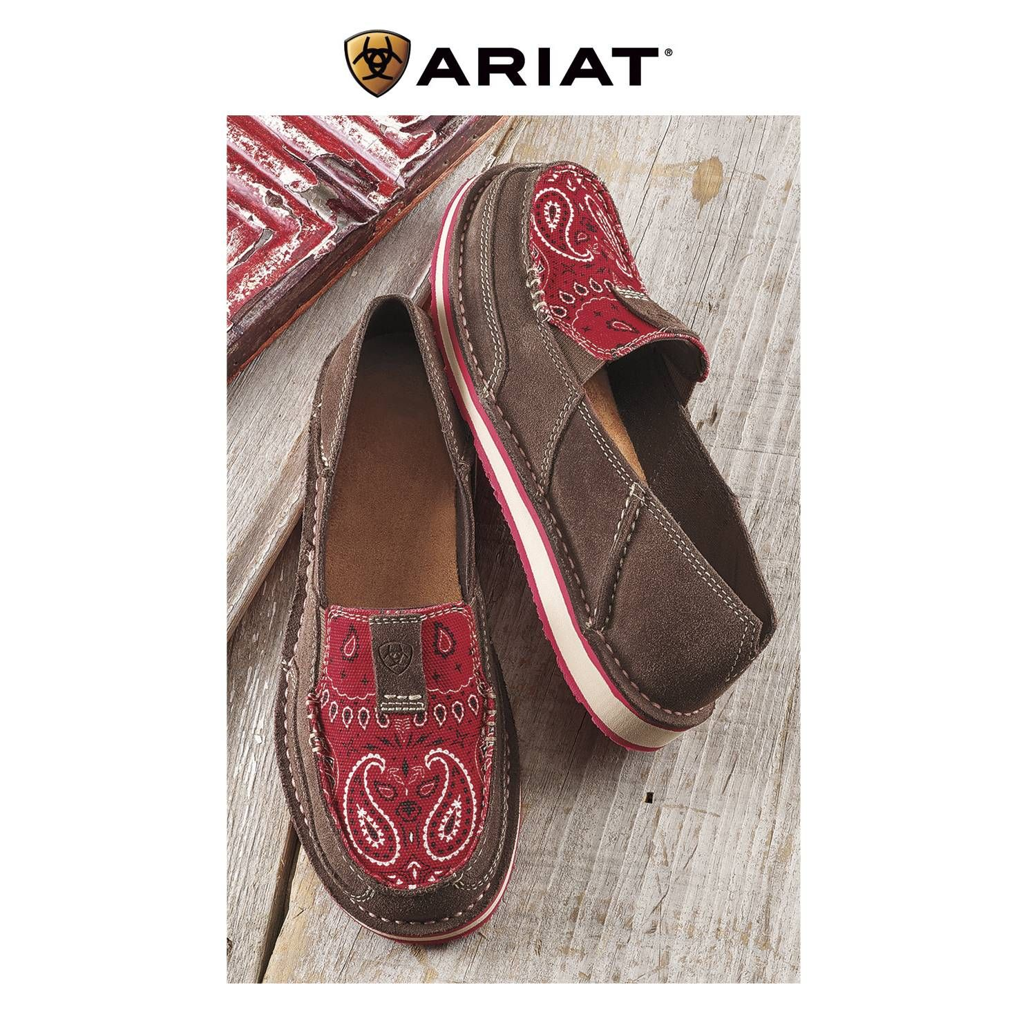 Ariat Red Bandana Slip On Shoes Cowgirl Delight Western Boots Women Red Bandana Slip On Shoes