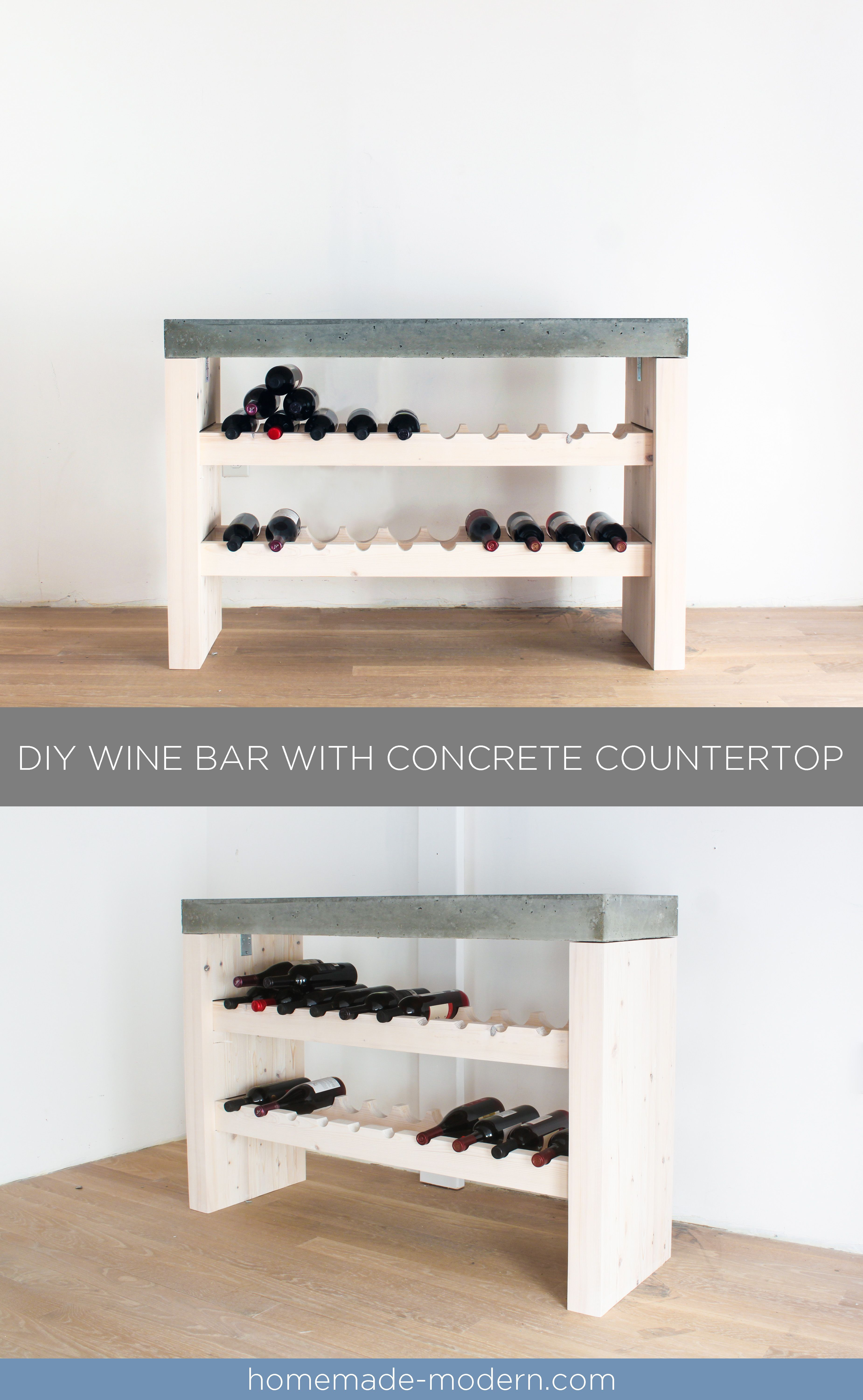This Diy Wine Bar Is Made Out Of 2x4s And Quikrete 5000 Concrete
