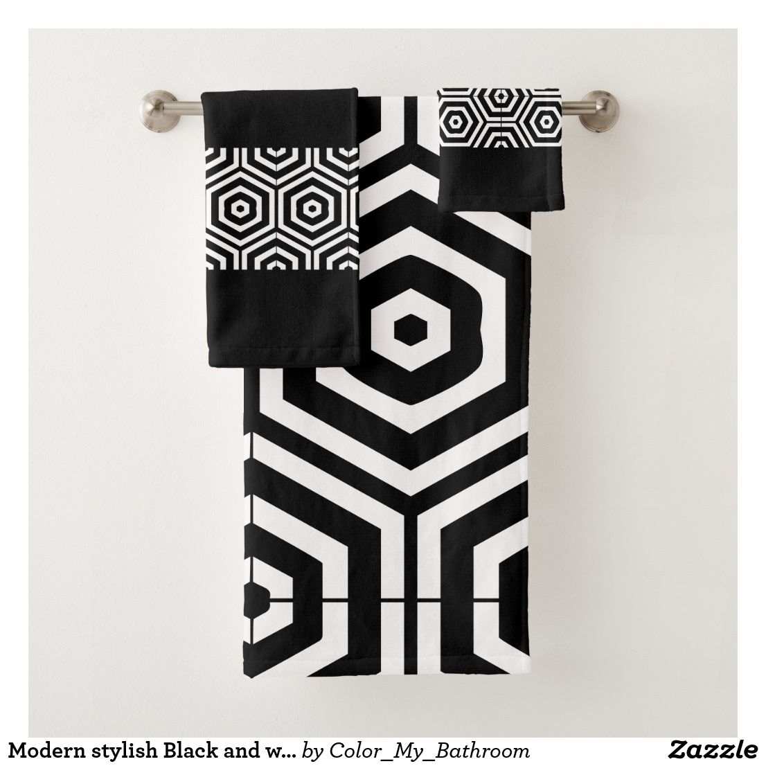 Modern Stylish Black And White Bathroom Bath Towel Set Zazzle Com White Bathroom Bath Towel Sets Bathroom Bath