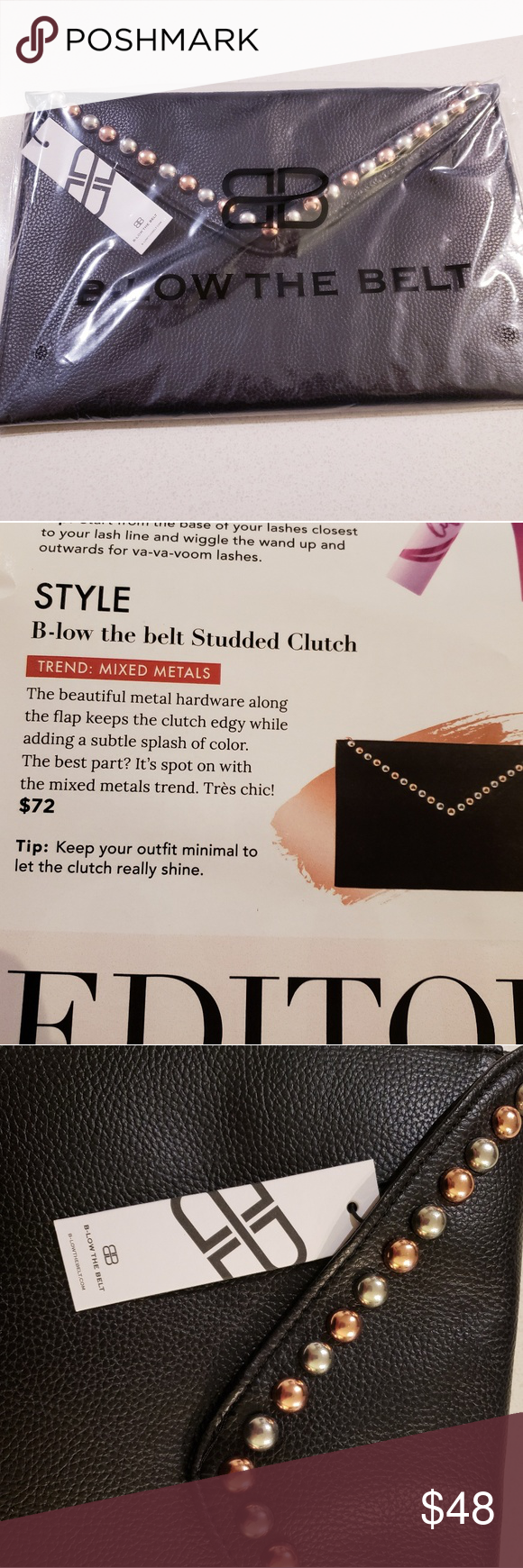 Stunning Below The Belt Studded Clutch Beautiful Black