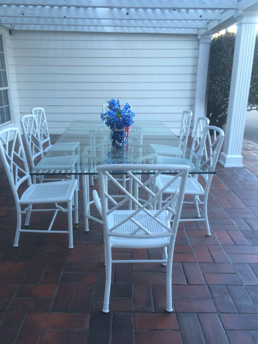 South Fork - DALLAS Texas patio Vintage faux metal bamboo dining ...