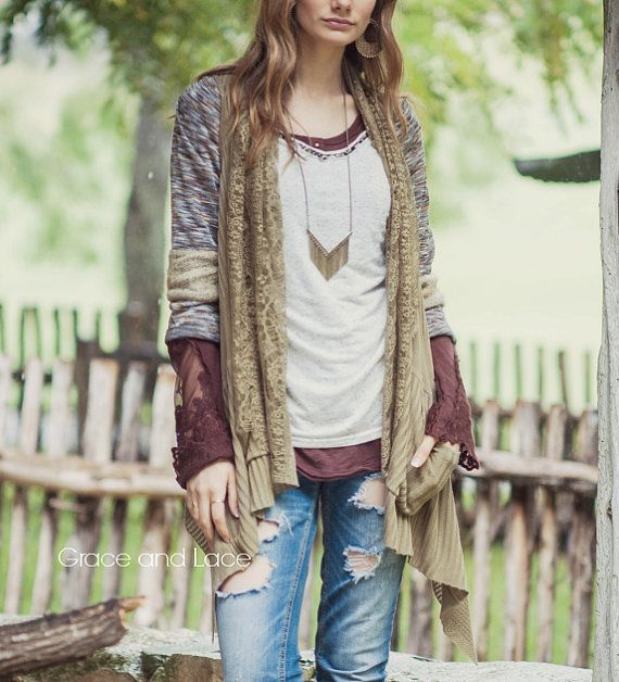 LACE FLIP CARDIGAN - OLIVE    Our Lace Flip Sleeveless Cardigan hands-down stands as our favorite 2-way-wear accent piece. Worn knit side up,