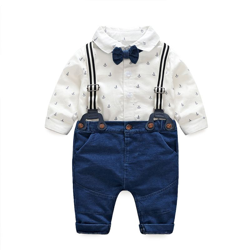 Gentleman Baby Boy Clothes White Newborn Wedding Clothes Baby Rompers Long Sleev