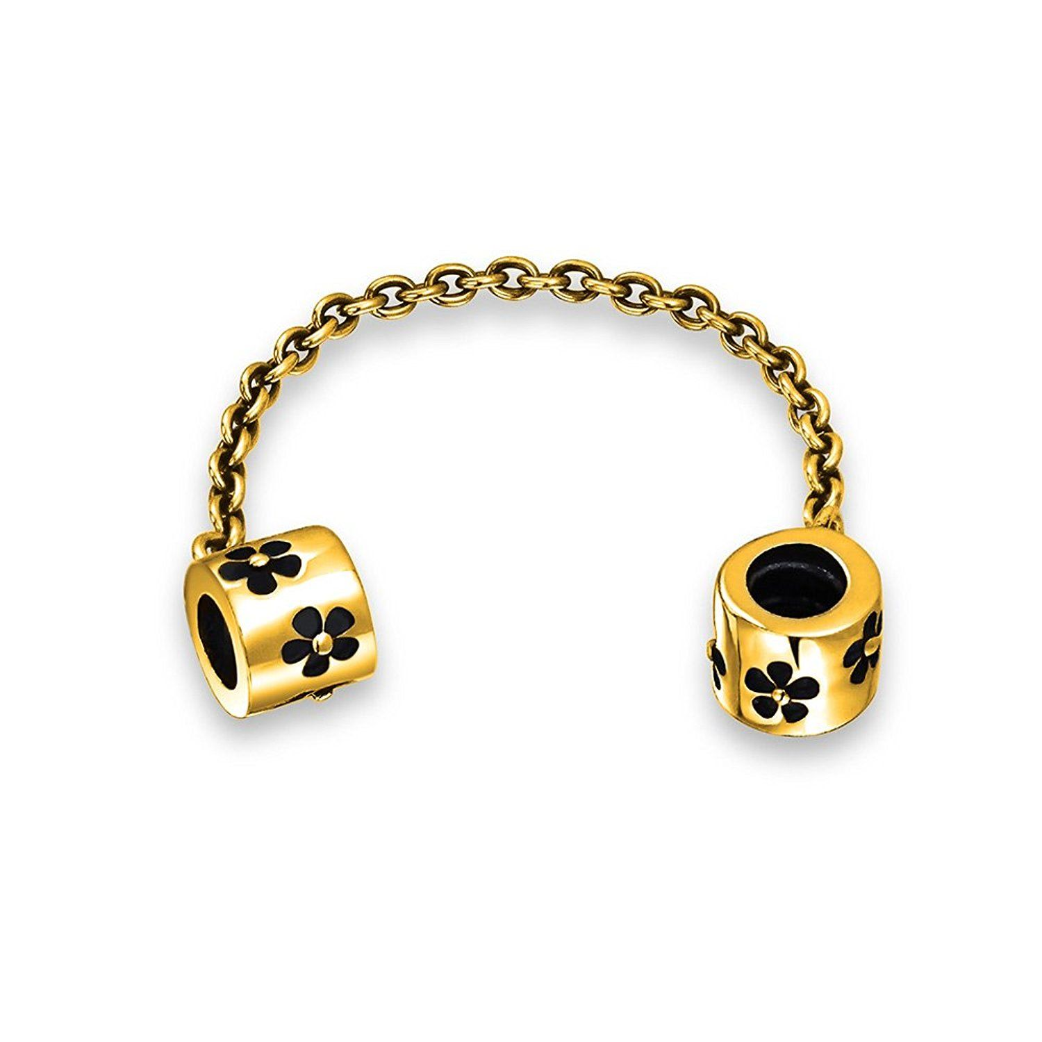 Bling jewelry daisy flower safety chain bead charm gold