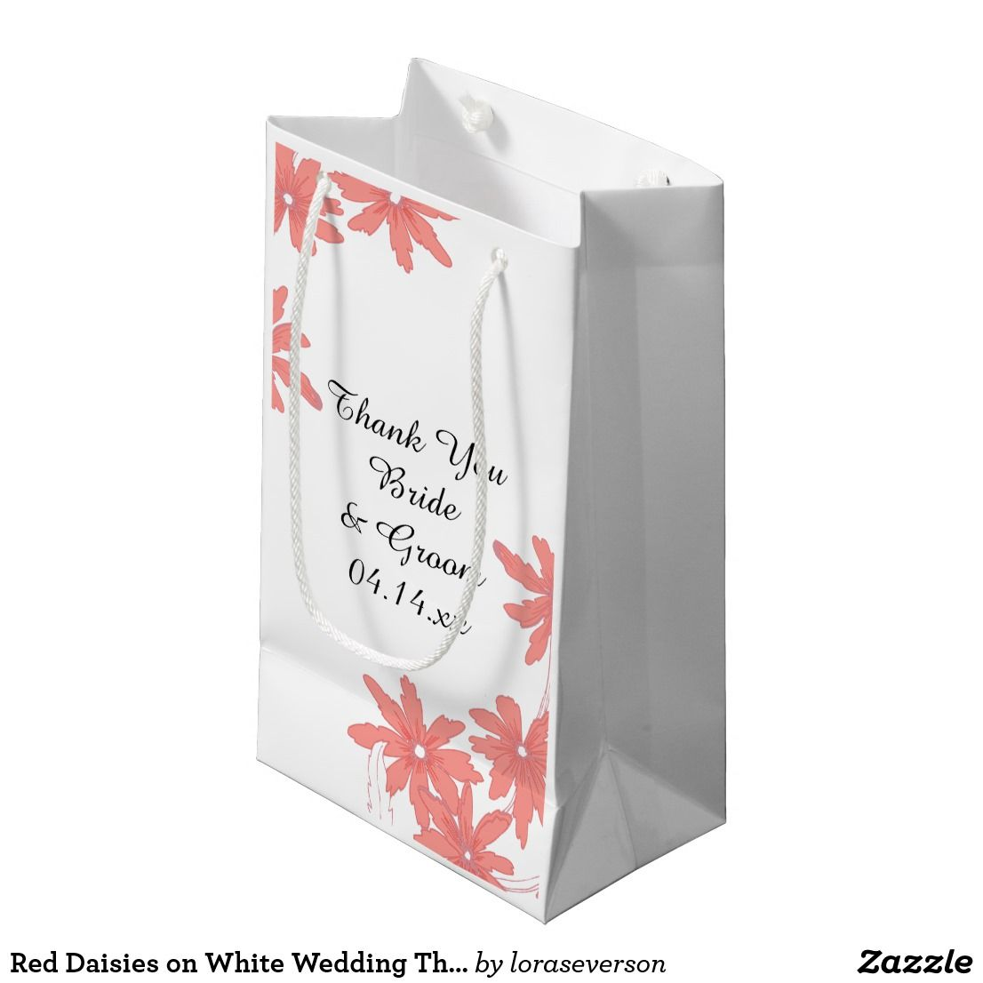 Red Daisies on White Wedding Thank You Small Gift Bag   Wedding ...