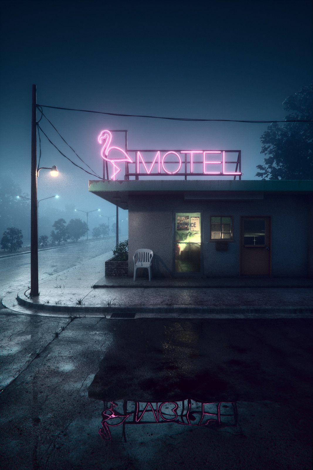 Artstation Motel On Foggy Night Akihiko Kamiya In 2020 Night Photography Night Aesthetic Neon Aesthetic