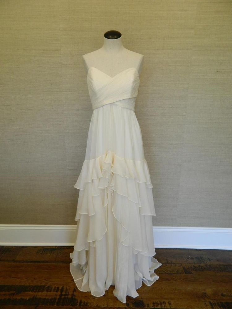 JCrew Silk Chiffon Luella Mermaid Gown $950 4 formal bride ivory ...