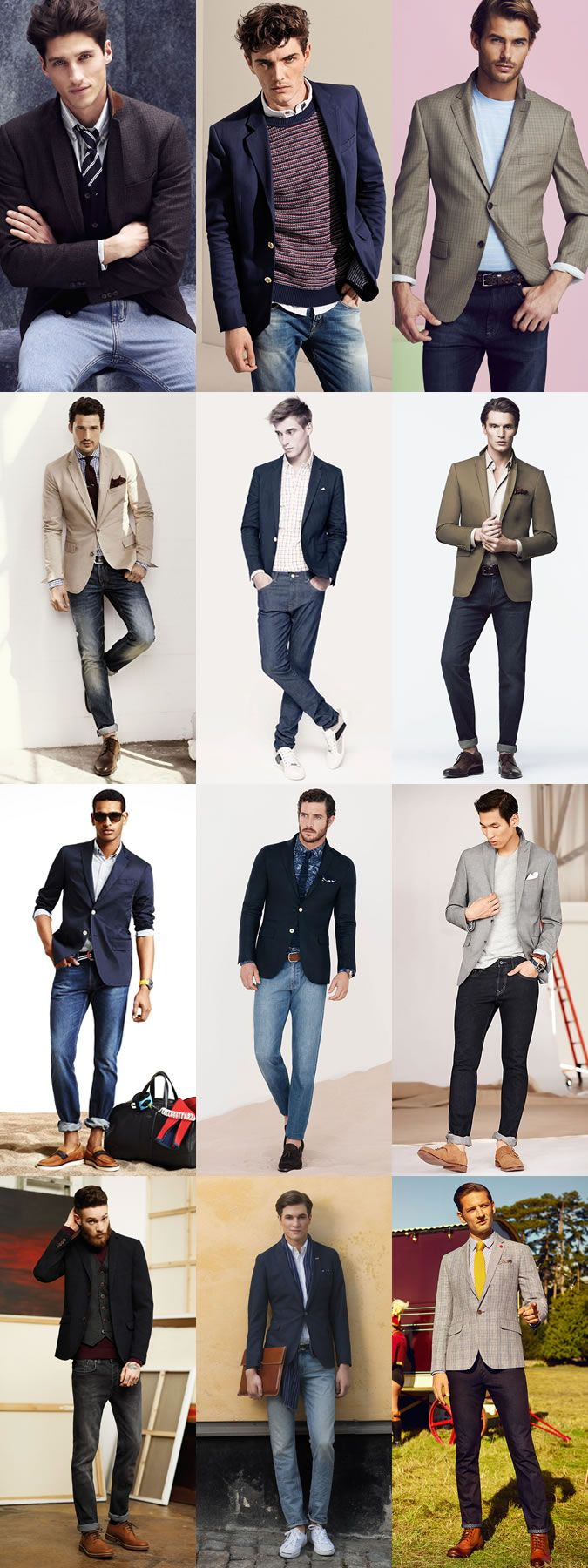Great Contrasting Outfit Combinations : Blazer & Jeans Lookbook Inspiration