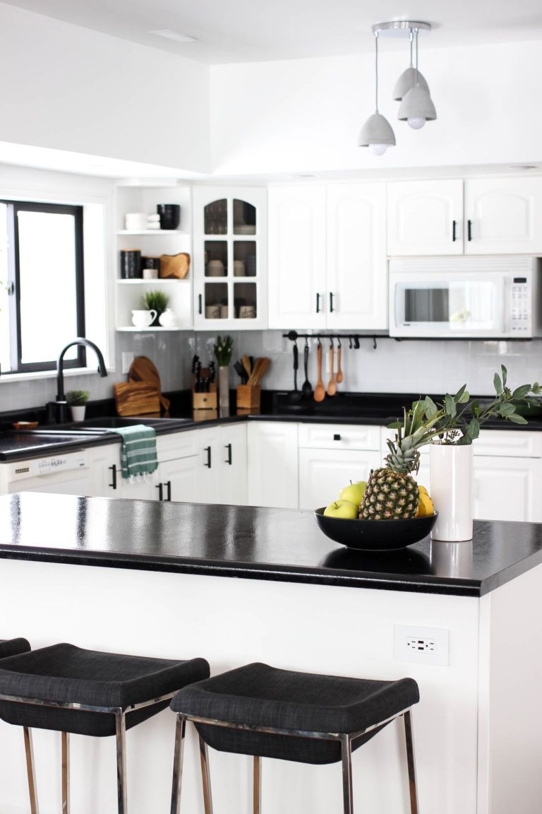 Our Weekend Renovation A New Modern Kitchen Love Create Celebrate Replacing Kitchen Countertops Kitchen Design Kitchen Black Counter