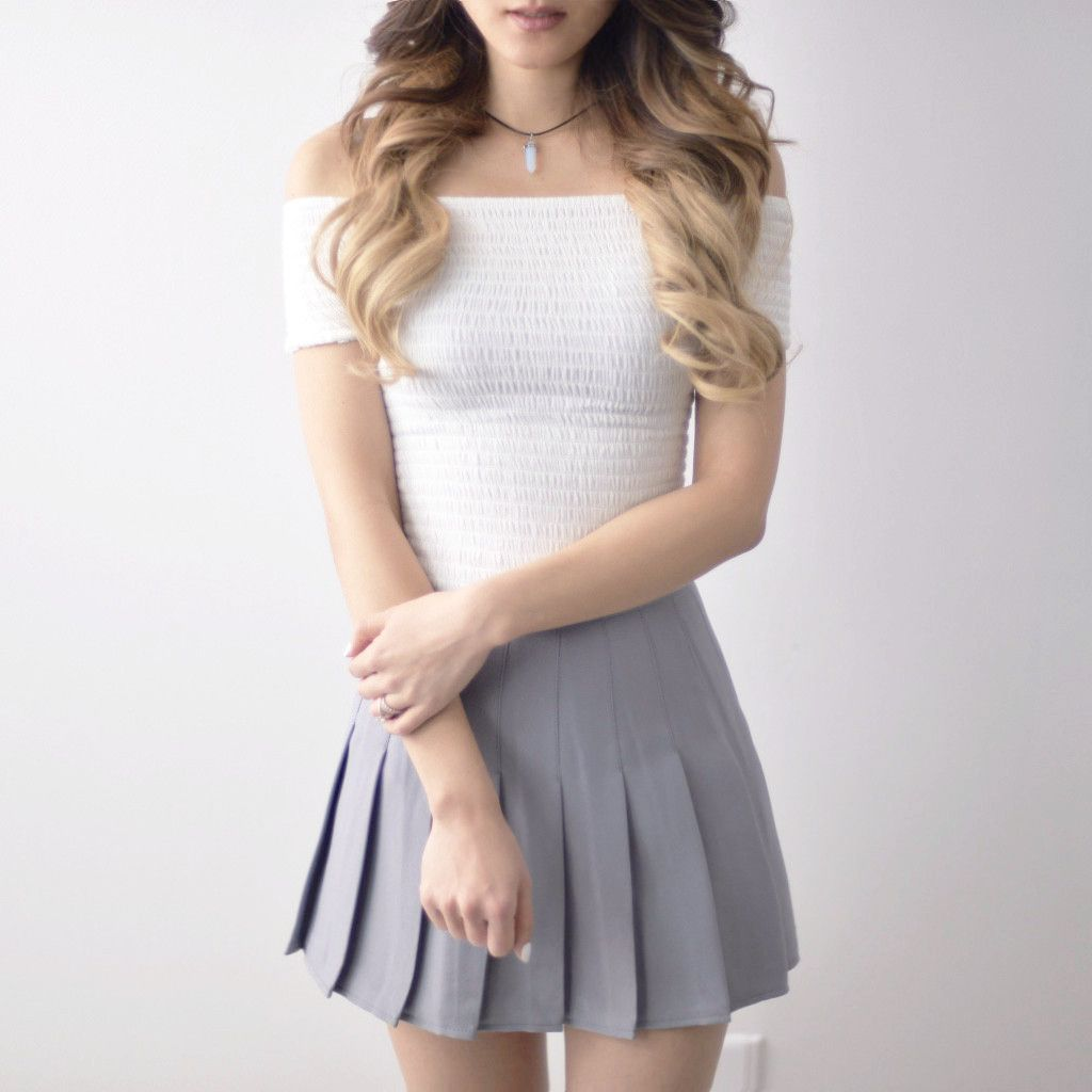 Pleated Tennis Skirt - Grey | Tennis skirts, Tennis and Gray