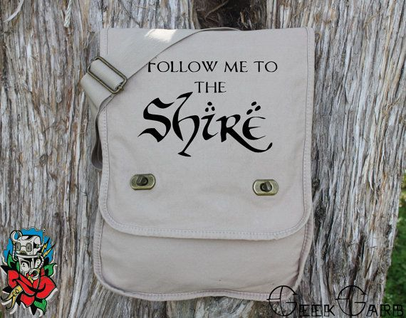 Follow Me To The Shire Canvas Messenger Bag  by geekgarbclothing