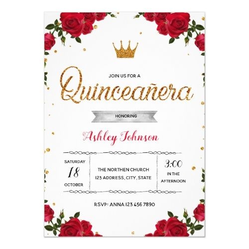 Red quinceanera party invitation