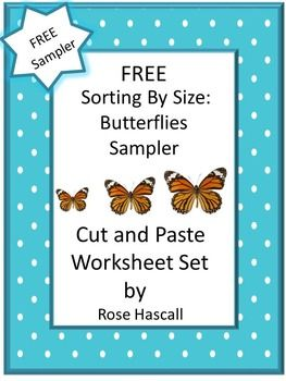 free sampler sorting by size butterflies cut and past insect theme butterfly caterpillar. Black Bedroom Furniture Sets. Home Design Ideas