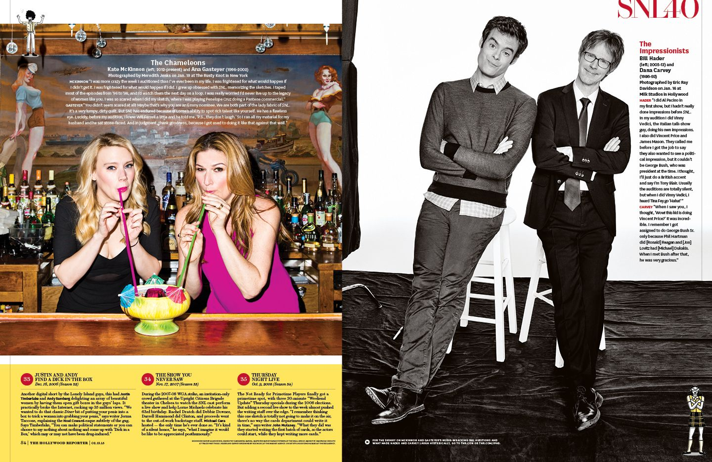 SNL 40 cover story layout in The Hollywood Reporter // kelsey stefanson / art direction + graphic design / yeskelsey.com