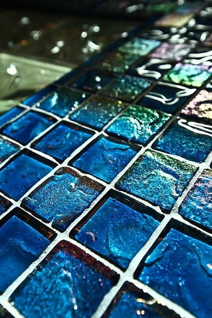 peacock blue glass tile