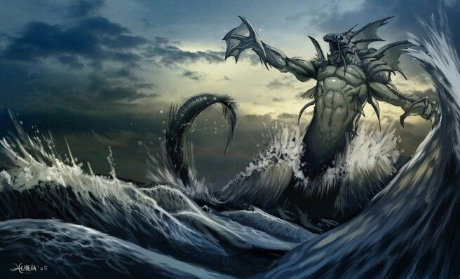 Rehab Jewish Myth A Sea Dragon Or Demonic Angel Of The Ocean A God Of The Primordial Darkness Chaos And The R Sea Monsters Fantasy Creatures Sea Creatures