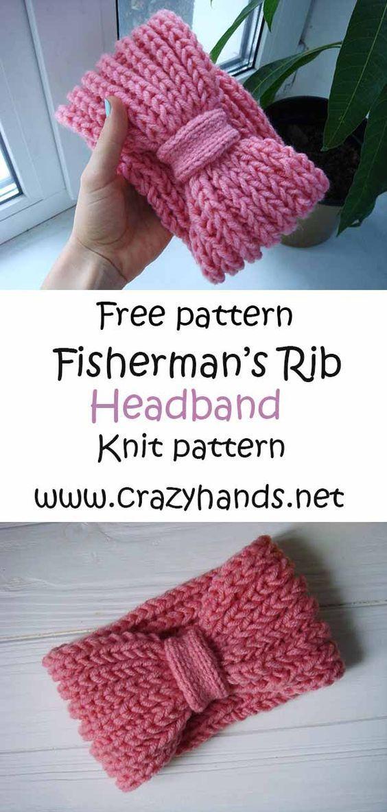 Pink Rose Fisherman's Rib Headband · Crazy Hands Knitting ...
