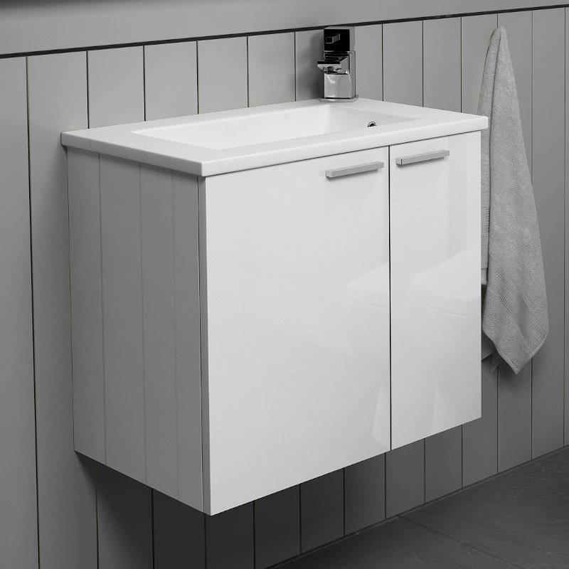 Sonix 550 Wall Vanity Unit Small White Vanity Units Small Vanity Cloakroom Vanity Unit