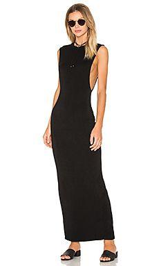Bobi Jersey Sleeveless Back Slit Maxi Dress in Black