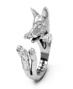Bling Jewelry Silver Wolf Head Black Animal Paw Print Howling Silhouette Ring