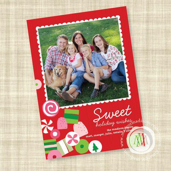 Candy Themed Custom Holiday Photo Card