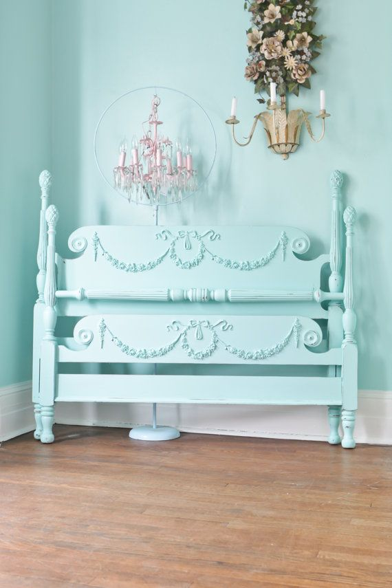 50 balance due custom order antique shabby chic aqua blue bed frame full beach coastal cottage prairie swags roses bows 4 post omg