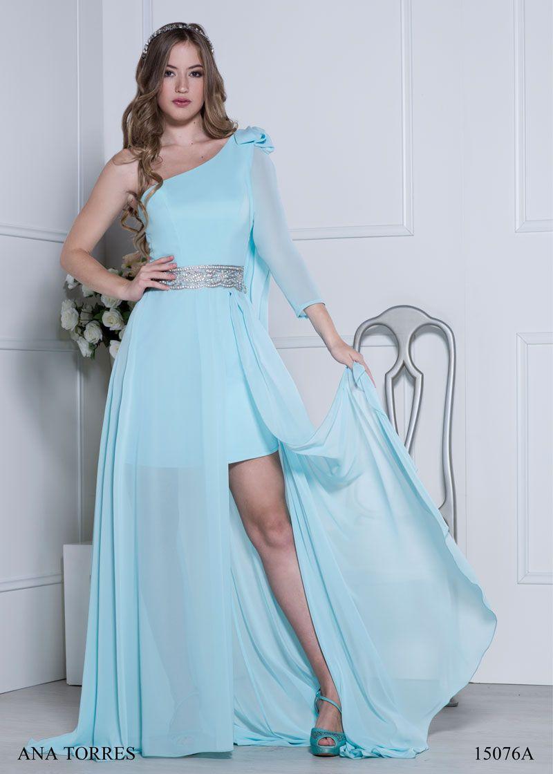 vestido corto con sobrefalda gasa   vestidos de fiesta largos ...