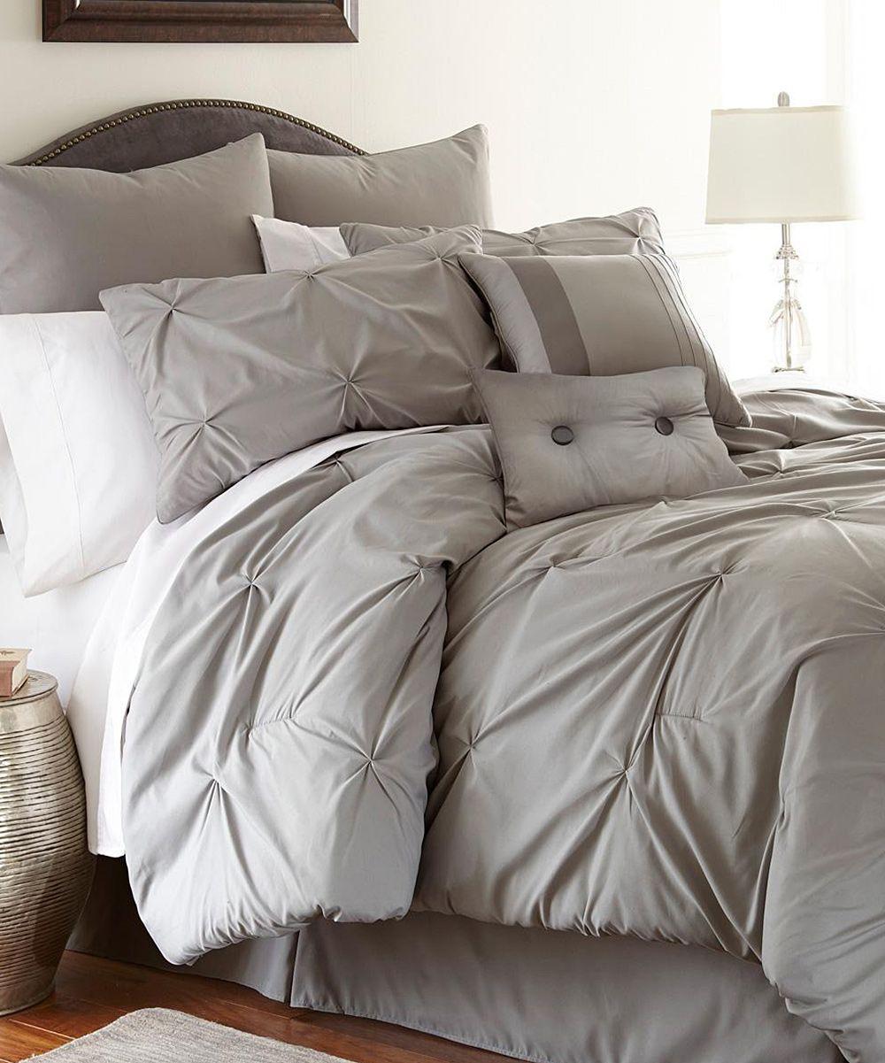 Gray Ella Platinum Embellished Comforter Set Something