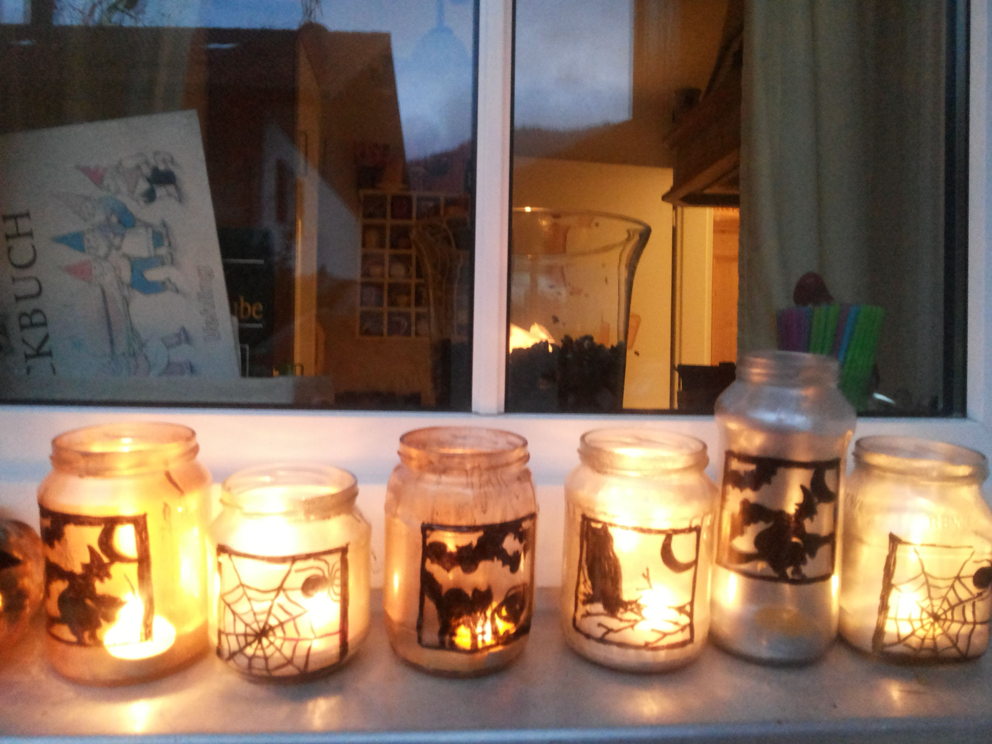 Halloween Mason Jar Idea  Print Silhouette, Put It Inside