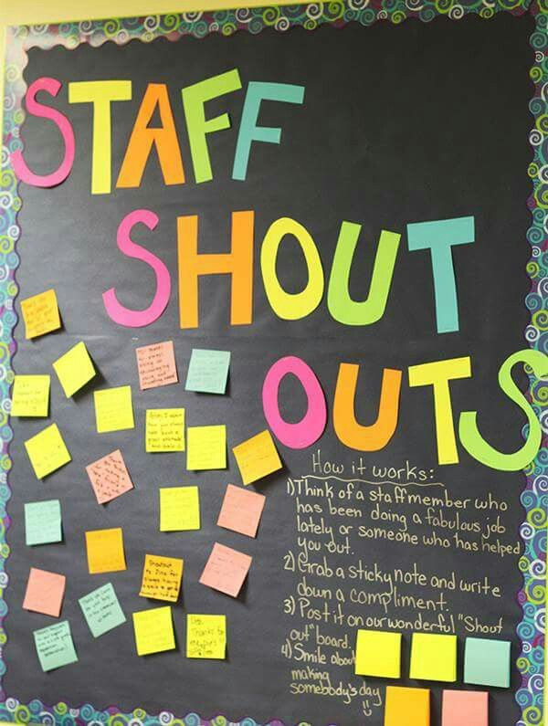 staff shout outs great idea for a staff room