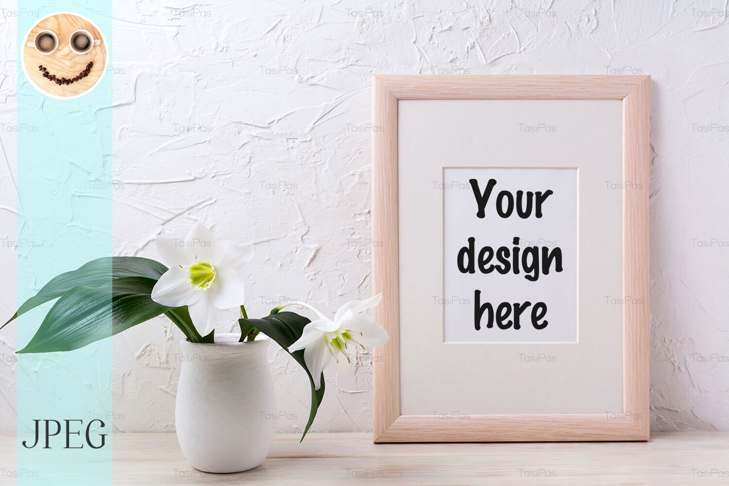Wooden frame mockup with white lily in flower pot By