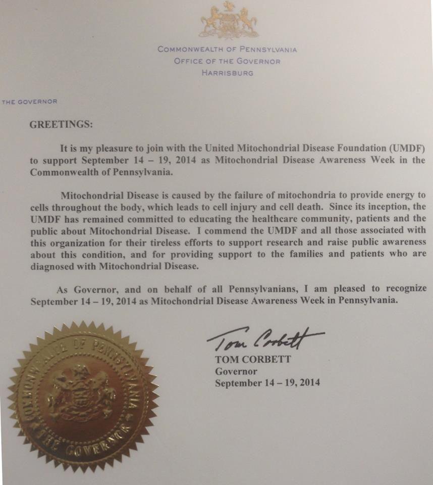 Letter from Governor Tom Corbett.