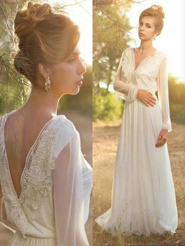 dd408f77a9273 Long Sleeve Country Wedding Dresses Lace Chiffon Beach Wedding Dresses  AWD1057-SheerGirl
