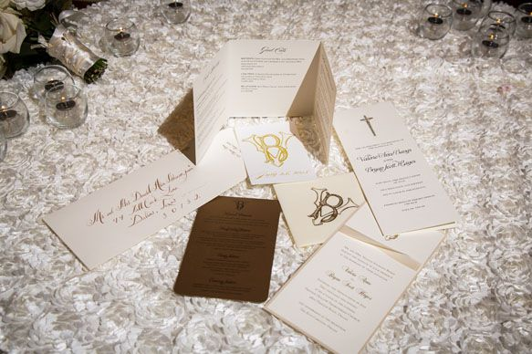 RitzCarlton Ballroom Wedding Gold Ivory Blush Paper