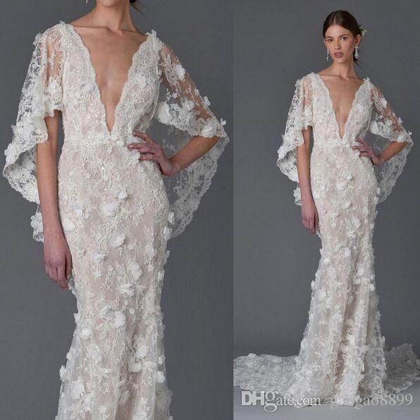 Bell Sleeve Wedding Dress: 3D Floral Dubai Ayaba Bell Sleeve Mermaid Beach Wedding