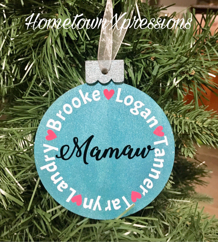 Mimi, Mom, Grandma Ornament Family Or Kid Or Grandkid Names