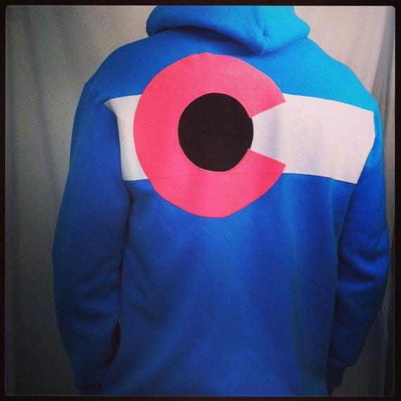 Colorado Flag custom Hoodie Hot Blue 3 layer sewn flag zippered sweatshirt Tx3C3K