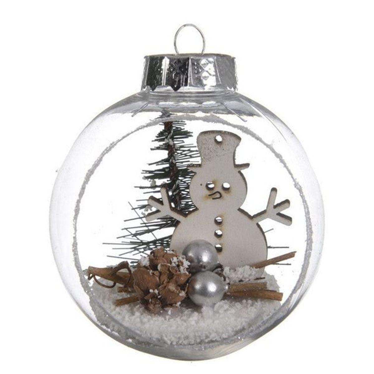 Boule De Noel Transparente A Decorer boule de noël transparente avec décor bonhomme de neige d8cm