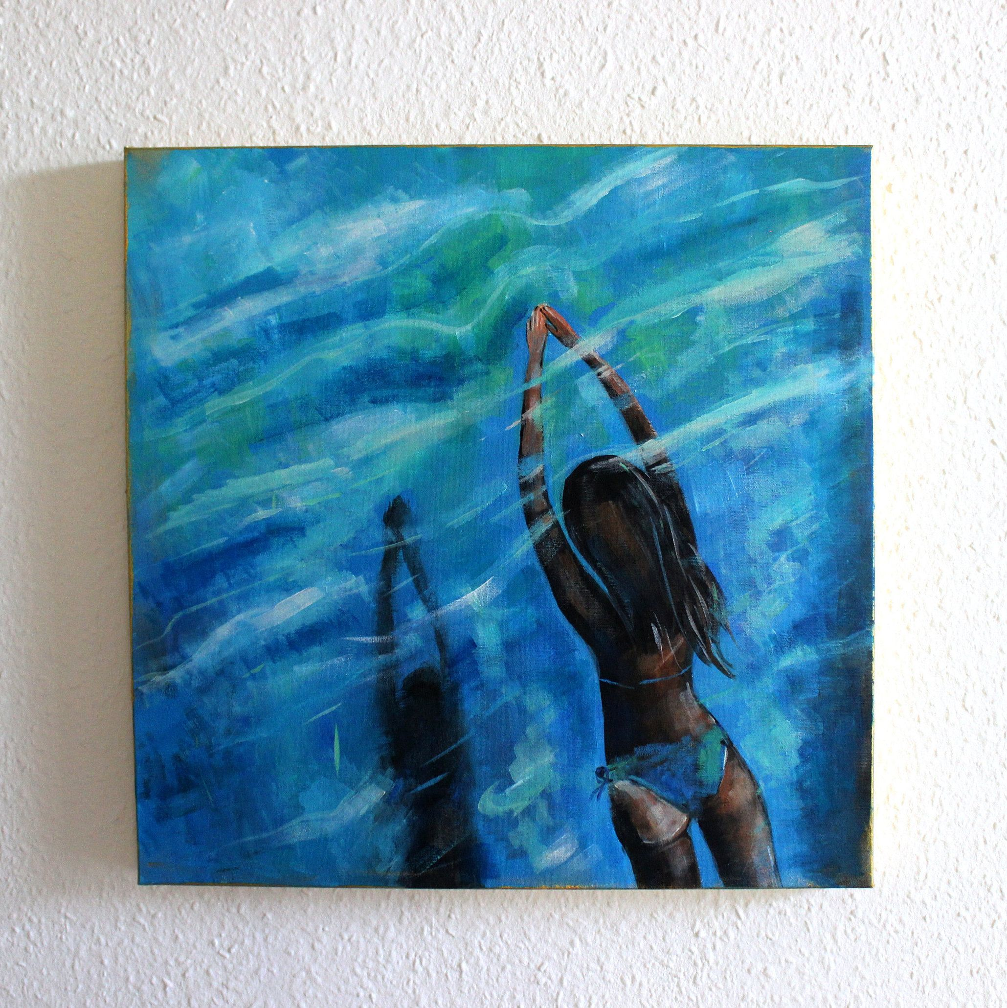 Acrylic Painting On Canvas Woman Swimming Contemporary Art