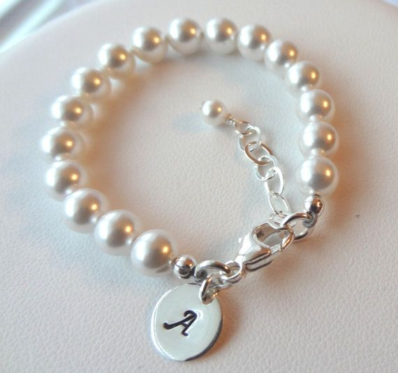 Tiffany Style Pearl Baby Children Bracelet Stamped Inspired Initial Charm On Etsy 21 00