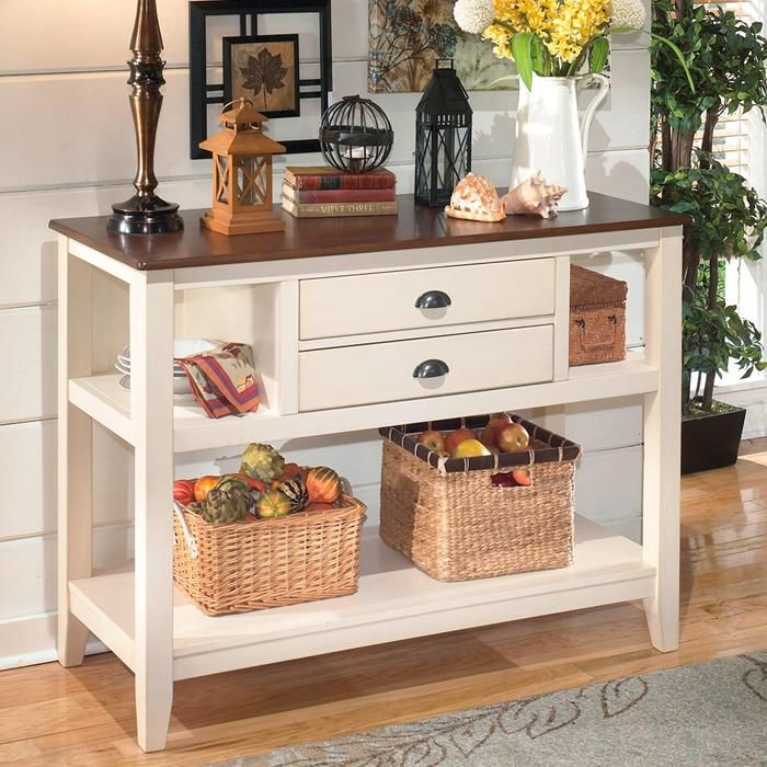 Whitesburg Server in Brown and White | Nebraska Furniture Mart