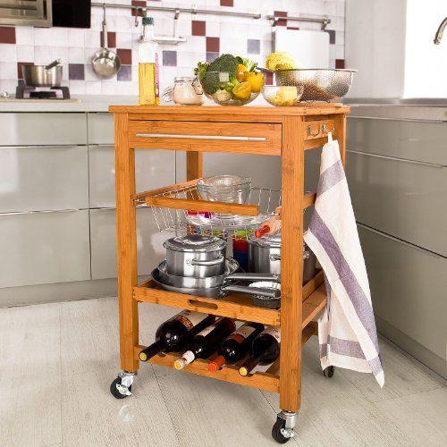 SoBuy® Servierwagen aus hochwertigem Bambus,Küchenwagen,Küchenregal - küchenwagen mit schubladen