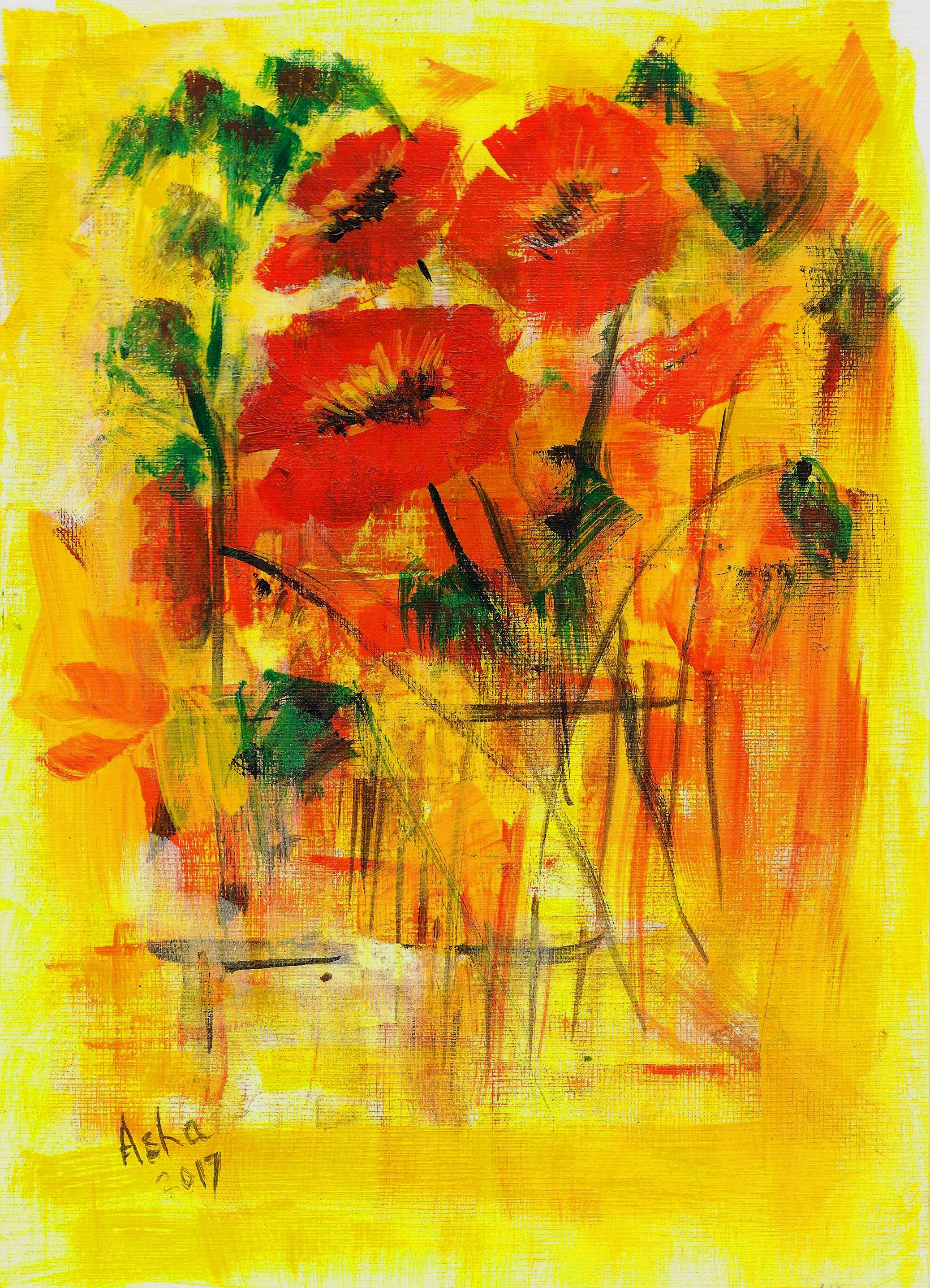 Original Art Poppies Art, Unique Acrylic Poppies , Red Floral Wall ...