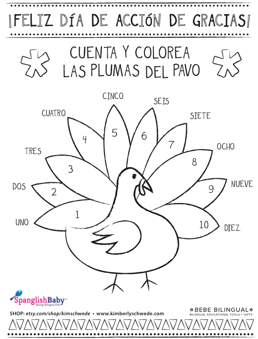 spanish thanksgiving coloring sheet onspanglishbaby – Elementary Spanish Worksheets