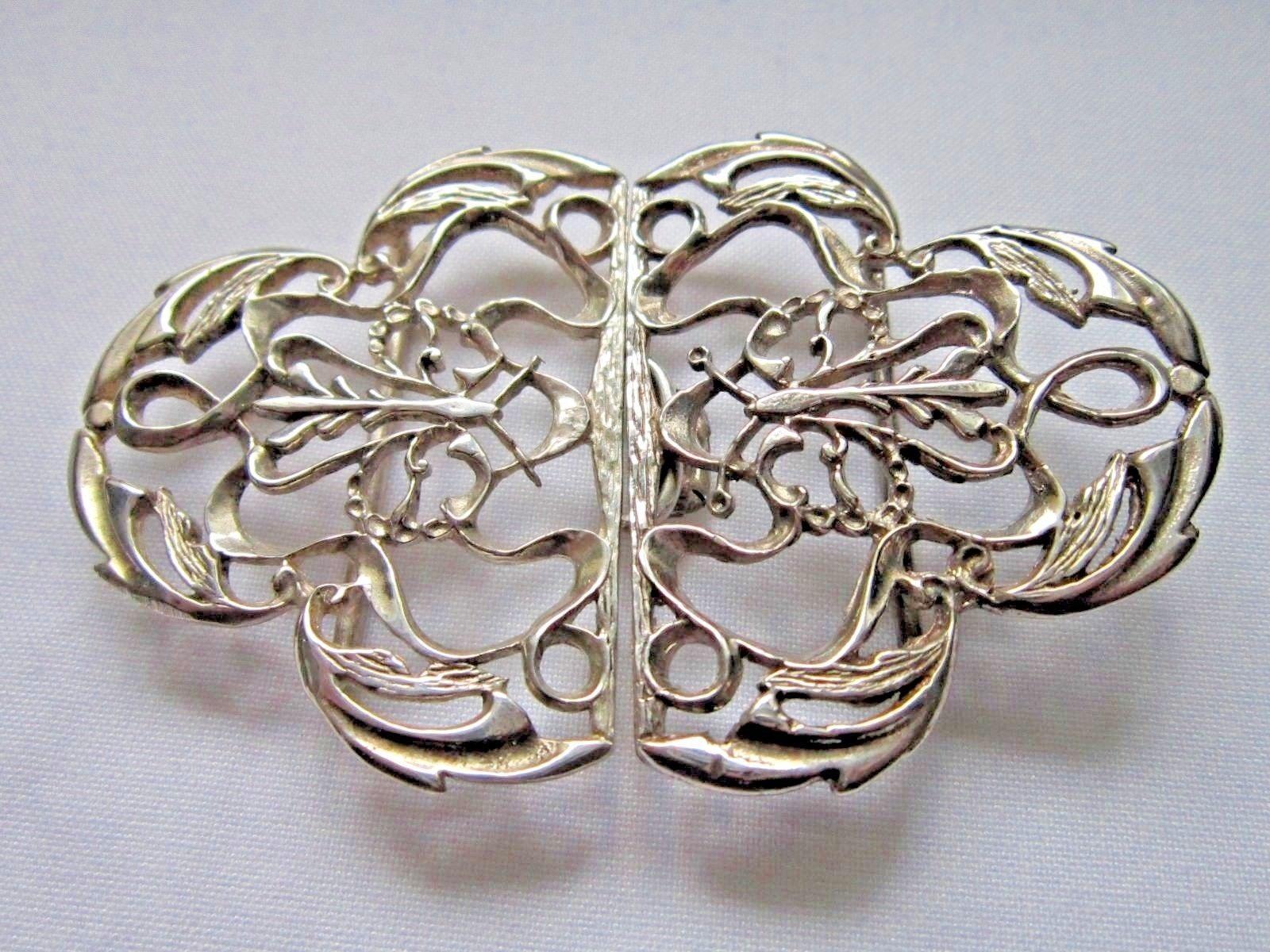 ff3551256 Vintage silver Art Nouveau style nurses buckle