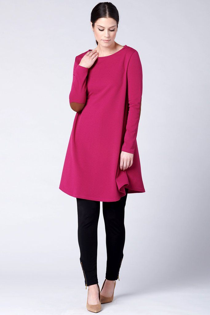 Elbow Patch Tunic - Magenta | Long sleeve outfits, Patch tunic