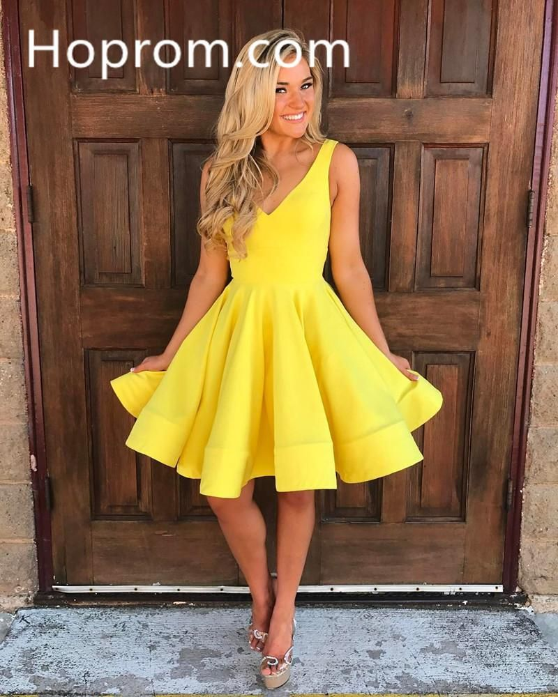 Yellow homecoming dress deep vneck short cute party dresses