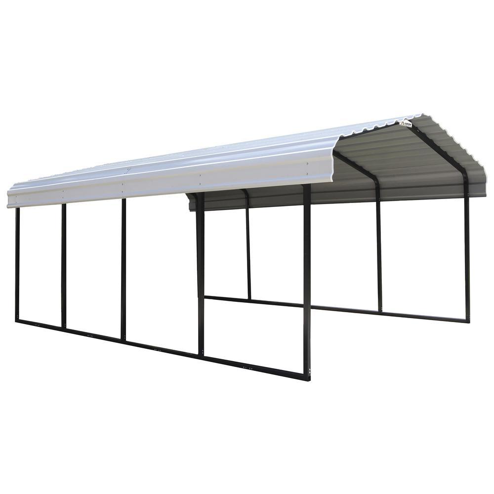 Arrow 12 Ft W X 20 Ft D Eggshell Galvanized Steel Carport Car Canopy And Shelter Cph122007 The Home Depot Steel Carports Steel Roof Panels Metal Carports