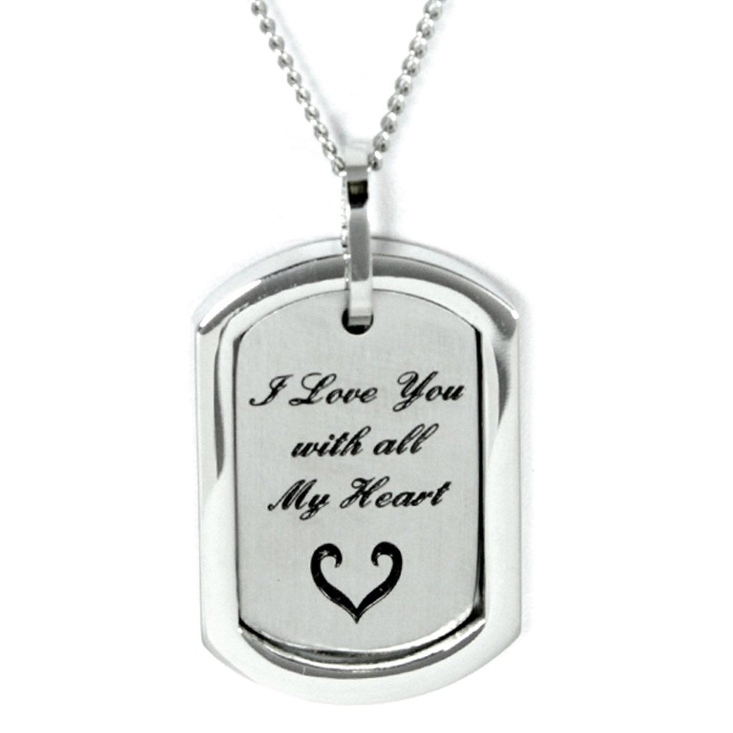 I Love You With All My Heart Pendant Necklace Stainless Steel